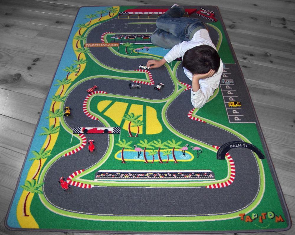 Tapitom Tapis De Jeu Circuit De Voiture Pour Enfant F1 130 X 200 Cm