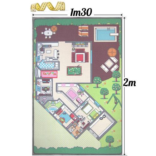 Tapitom Tapis De Jeu Plan De La Maison 130 X 200 Cm